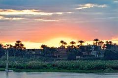 Coucher du soleil sur le Nil Photographie stock libre de droits