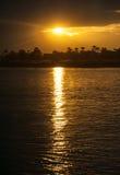 Coucher du soleil sur le Nil Photos stock