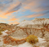 Coucher du soleil sur le paysage du nord de bad-lands Photographie stock libre de droits