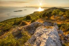 Coucher du soleil sur le point de vue d'ÄŒelinka Photographie stock libre de droits