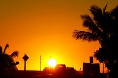 Coucher du soleil sur le pont de Sept-mille, marathon, FL photo libre de droits