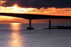 Coucher du soleil sur le pont de Skye Photos libres de droits