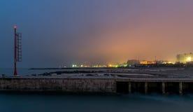 Coucher du soleil sur le port Photo stock