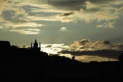 Coucher du soleil sur le remblai de Dnieper Image libre de droits