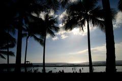 Coucher du soleil sur le waikiko Hawaï Images libres de droits