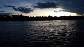 Coucher du soleil sur le Zambèze Photos stock