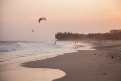 Coucher du soleil sur les plages de Mui Ne Image libre de droits