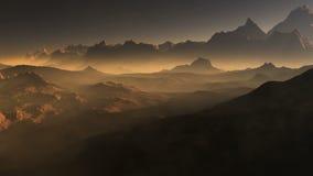 Coucher du soleil sur Mars Montagnes de Mars, vue de la vallée après tempête de poussière banque de vidéos