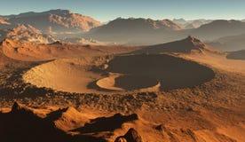 Coucher du soleil sur Mars Paysage martien, cratères d'impact sur Mars illustration libre de droits