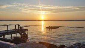 Coucher du soleil sur Mindemoya Photo libre de droits