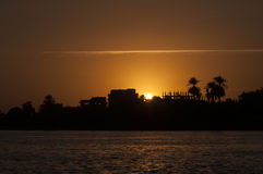 Coucher du soleil sur Nile River Photos libres de droits