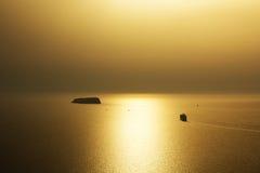 Coucher du soleil sur Santorini Photo libre de droits