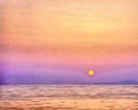 Coucher du soleil sur Sithonia en Grèce Photos libres de droits
