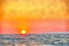 Coucher du soleil sur Sithonia en Grèce Photos stock
