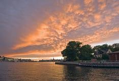 Coucher du soleil sur Stockholm photo stock