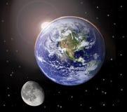 Coucher du soleil sur terre de planète Image libre de droits