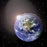 Coucher du soleil sur terre de planète Images stock
