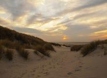Coucher du soleil sur Terschelling Image libre de droits