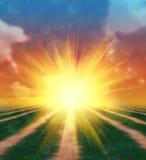 Coucher du soleil sur un champ d'herbe Photos stock