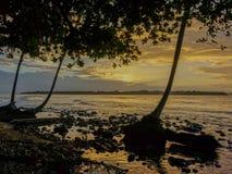 Coucher du soleil sur une plage Photographie stock libre de droits