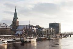 Coucher du soleil sur Weser Image stock
