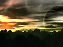 Coucher du soleil sur Xilis 8 illustration de vecteur