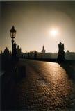 coucher du soleil tchèque de république de Prague Photographie stock