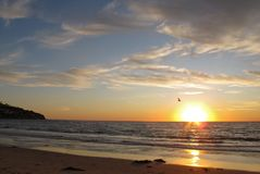 Coucher du soleil, Torrance Beach, Los Angeles, la Californie Photographie stock