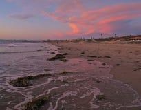 Coucher du soleil, Torrance Beach, Los Angeles, la Californie Image libre de droits