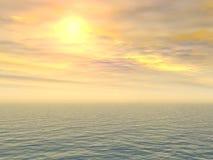 Coucher du soleil triste de citron au-dessus de mer Photos libres de droits