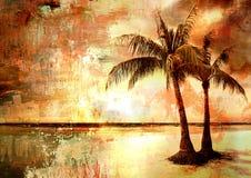 Coucher du soleil tropical Photos libres de droits