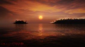 Coucher du soleil tropical illustration de vecteur