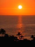 Coucher du soleil tropical (cieux oranges) Image libre de droits