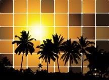 Coucher du soleil tropical, fond de mosaïque pour votre conception illustration stock