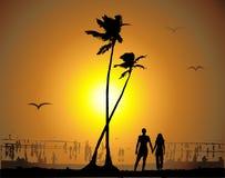 Coucher du soleil tropical, plage illustration de vecteur