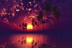 Coucher du soleil tropical pourpré Image stock