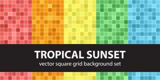 Coucher du soleil tropical réglé de modèle carré Milieux sans couture de tuile de vecteur Photographie stock libre de droits