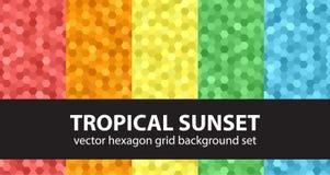Coucher du soleil tropical réglé de modèle d'hexagone Photo stock