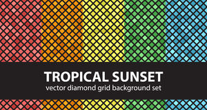 Coucher du soleil tropical réglé de modèle de diamant Photos libres de droits