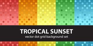Coucher du soleil tropical réglé de modèle de point de polka Image stock