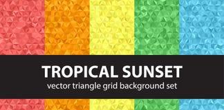 Coucher du soleil tropical réglé de modèle de triangle Images libres de droits