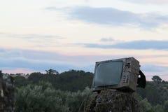 Coucher du soleil TV photographie stock