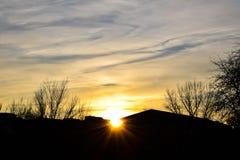 coucher du soleil urbain Photographie stock libre de droits