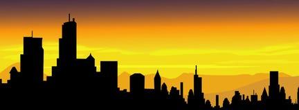Coucher du soleil-vecteur de ville Photos libres de droits