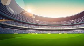 Coucher du soleil vide de vue de gisement de stade de football à plat horizontal illustration libre de droits