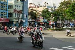 Coucher du soleil vietnamien du trafic Photographie stock libre de droits