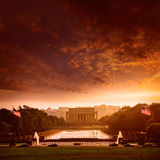 Coucher du soleil Washington Dc d'Abraham Lincoln Memorial Images stock
