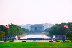 Coucher du soleil Washington Dc d'Abraham Lincoln Memorial Images libres de droits