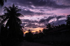 Couchers du soleil au-dessus des paumes dans Robillard rural, Haïti Photos libres de droits