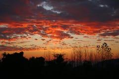 Couchers du soleil avec éclat ambrasés en vallée Inde de kangra Images stock